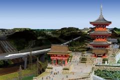 『清水寺』 2012年 3D映像展示システム「3Dジオラマ京都JAPAN」より